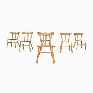 Scandinavian Modern Birchwood Spindle Back Chairs, 1950s, Set of 6