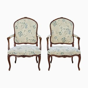 Early-20th-Century Carved Walnut Armchairs, Set of 2