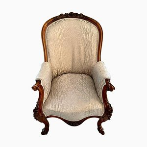 Antique Victorian Mahogany Carved Library Chair, 19th Century