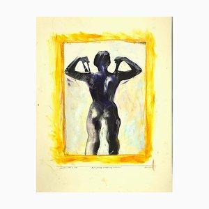 Sergio Barletta - Wrestling Woman - Original Mixed Media by Sergio Barletta - 1995
