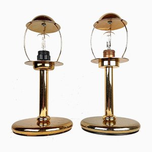 Gold Metal Table Lamps from Sijaj Hrastnik, Set of 2