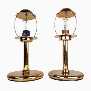 Goldene Metall Tischlampen von Sijaj Hrastnik, 2er Set