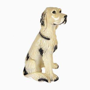 Große Glasierte Vintage Hund Figur aus Keramik, 1960er