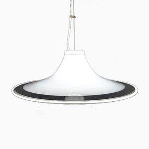 Murano Glass White Pendant Lamp, Italy, 1970s