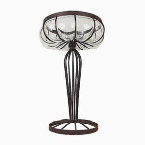 Vintage Glass Metal Vase, 1970s