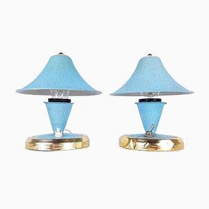 Vintage Light Blue Mushroom Table Lamps, 1960s, Set of 2