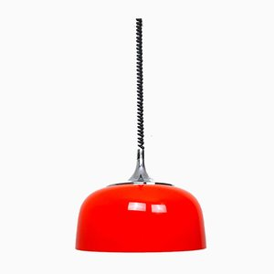 Lampe à Suspension Mid-Century Rouge par Meblo pour Harvey Guzzini, 1970s, Italie