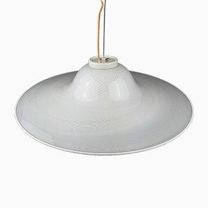 Lampe à Suspension Mid-Century en Verre Murano Blanc, Italie, 1970s