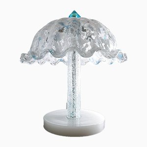 White and Blue Murano Glass Table Lamp, Italy, 1980s