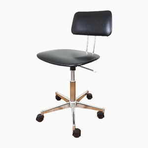 Mid-Century Black Swivel Office Chair, 1970s