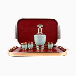 Vintage Gold-Tone Woodgrain Laminate Bar Tray