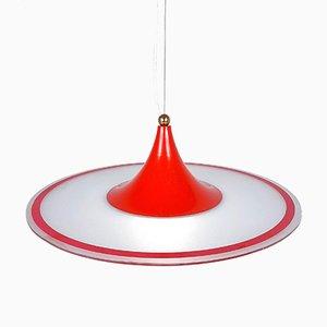 Lampe à Suspension Mid-Century Rouge, Italie, 1960s