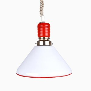 Red and White Pendant Lamp, Italy, 1970s