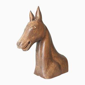 Vintage Handmade Wood Horse Sculpture, 1960s