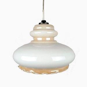Beige Glass Pendant Lamp, 1970s