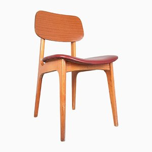 Mid-Century Burgundy Wooden Dining Chair, 1970s