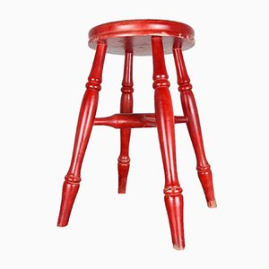 Mid-Century Red Wooden Stool, 1960s