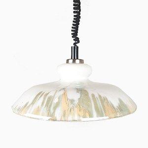 White Glass Pendant Lamp, 1970s