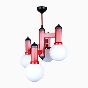 Red Metal and Glass Pendant Lamp, 1980s