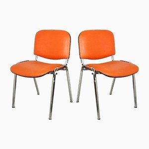 Sedia da scrivania arancione, anni '80