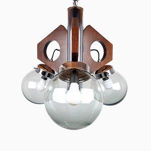 Mid-Century Wood, Glass & Metal Pendant Lamp, 1970s
