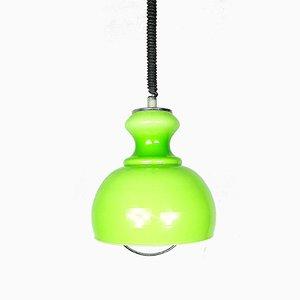 Lampe à Suspension de Ferme Vintage en Verre Vert, 1970s