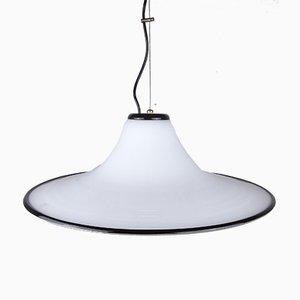 Grande Lampe à Suspension Vintage en Verre Murano Blanc et Noir, Italie, 1970s