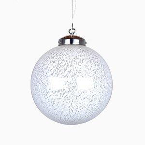 Large Vintage White Glass Ball Pendant Lamp, 1960s