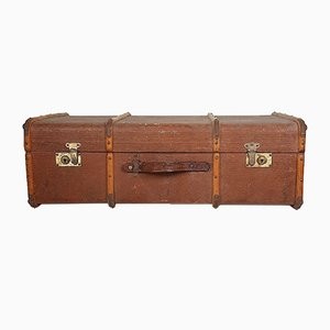 Large Vintage Wooden Travel Suitcase, 1970s