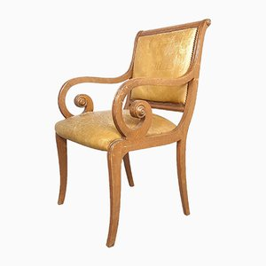 Vintage Italian Wood & Leather Dining Chair, 1950s