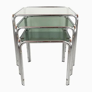 Mid-Century Glass & Chrome Coffee Nesting Tables, Set of 3