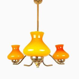 Mid-Century Yellow Glass Pendant Lamp, 1970s
