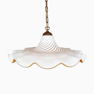 Large Vintage Italian Swirl Murano Glass Pendant Lamp, 1960s