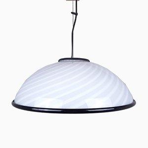 Lampe à Suspension Vintage Blanche et Noire, Italie, 1980s