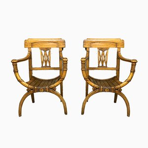 Light Wood Armchairs, Set of 2