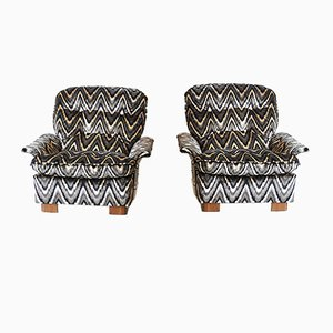 Italian Curved Wood & Missoni Fabric Lounge Chairs, 1970s, Set of 2