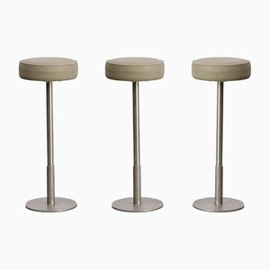 Stainless Steel & Leather Stools, 1970s, Set of 3