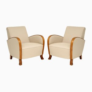 Swedish Art Deco Satin Birch Armchairs, 1920s, Set of 2