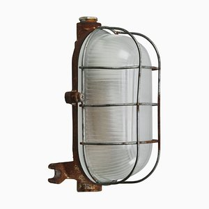 Mid-Century Industrial Cast Iron & Frosted Glass Sconce