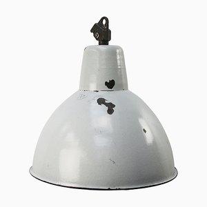 Graue industrielle Mid-Century Deckenlampe aus Emaille
