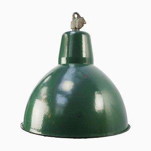 Mid-Century Industrial Green Enamel Ceiling Lamp