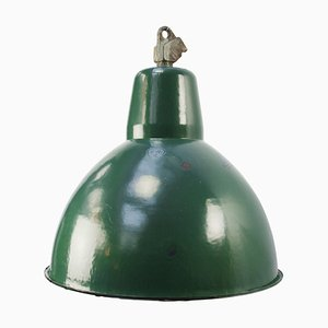 Plafonnier Mid-Century Industriel en Email Vert