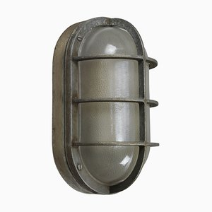 Mid-Century Industrial Gray Aluminium & Frosted Glass Sconce