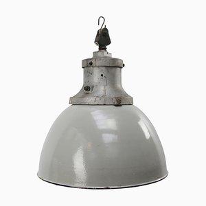 Industrielle Mid-Century Deckenlampe aus Emaille & Gusseisen in Grau von Industria Rotterdam