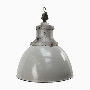 Mid-Century Industrial Gray Enamel & Cast Iron Ceiling Lamp from Industria Rotterdam