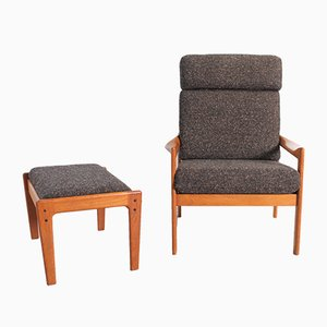 High Back Lounge Chair & Ottoman by Illum Wikkelsø for Niels Eilersen, 1960s, Set of 2