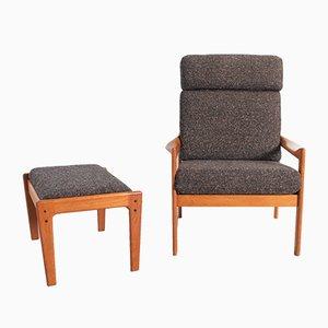 High Back Lounge Chair & Ottoman by Illum Wikkelsø for Niels Eilersen, 1960s, Set of 2