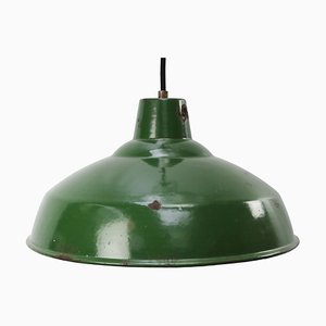 Mid-Century British Industrial Green Enamel Ceiling Lamp