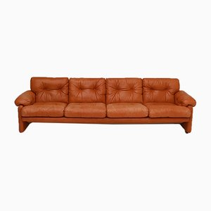 Italian Cognac Leather Coronado Sofa by Tobia & Afra Scarpa for B&B Italia / C&B Italia, 1970s