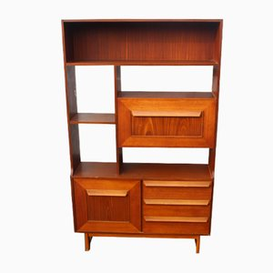 Teak Room Divider with Shelves and Cupboard, 1960s